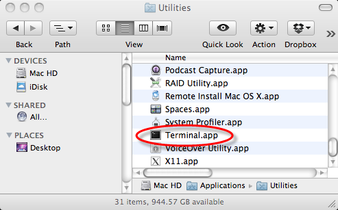 How do I open the Terminal on a Mac?